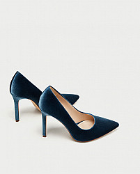 Escarpins bleu en velours